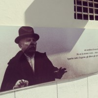 Fellini quotes on the walls near Rimini's Market