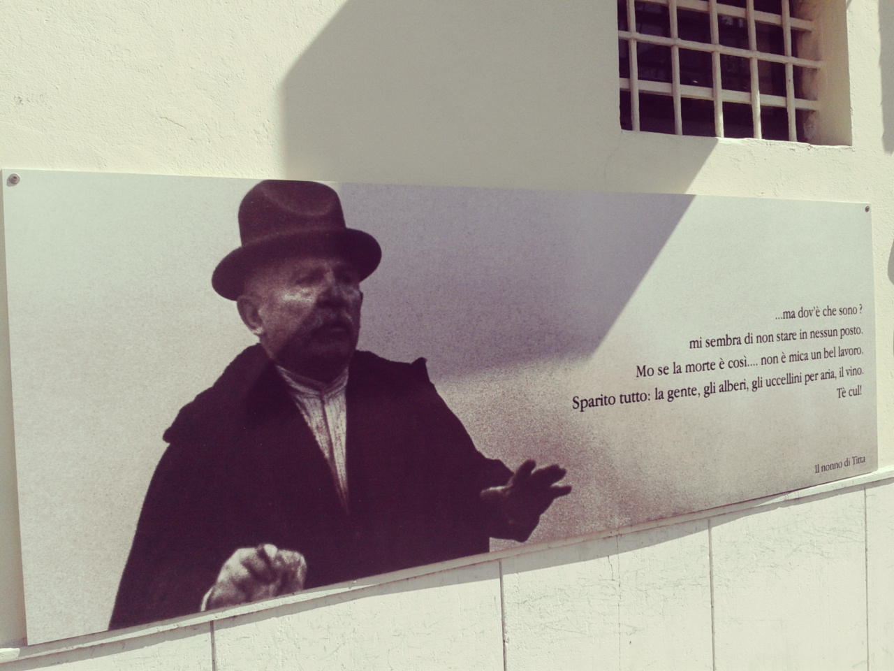 Fellini quotes on the walls near Rimini's Market