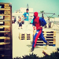 Spiderman spotted in Rimini during Parkour demonstration for la notte rosa