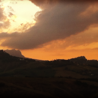 The view from Onferno across to San Marino