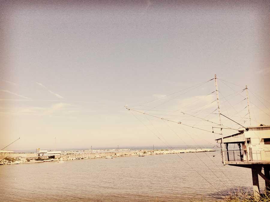 Fishing nets on the Marecchia River, Emilia-Romagna