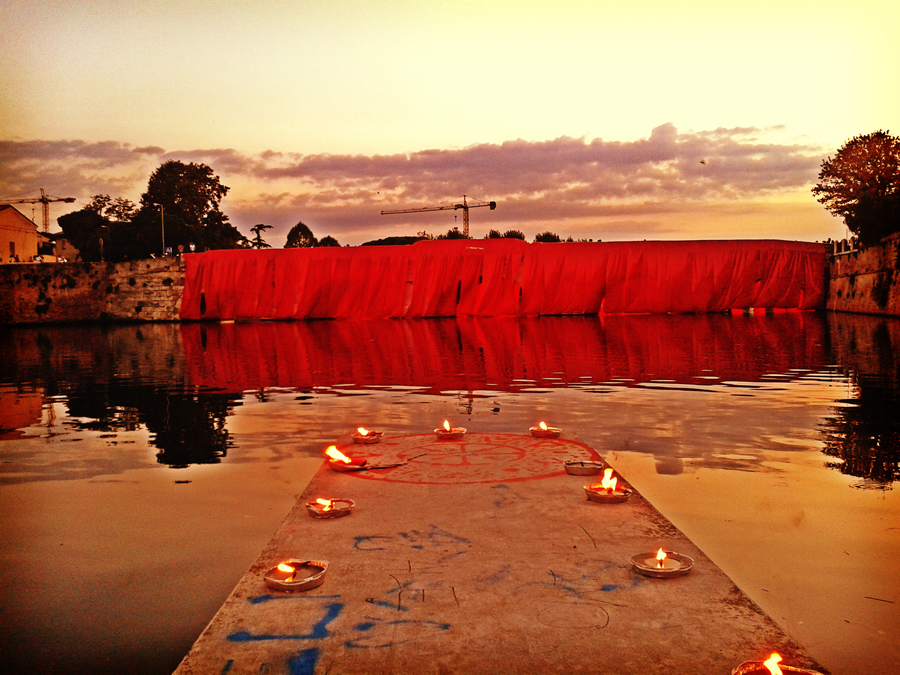 Ponte di Tiberio, wrapped up for the Festa de'Borg 2014