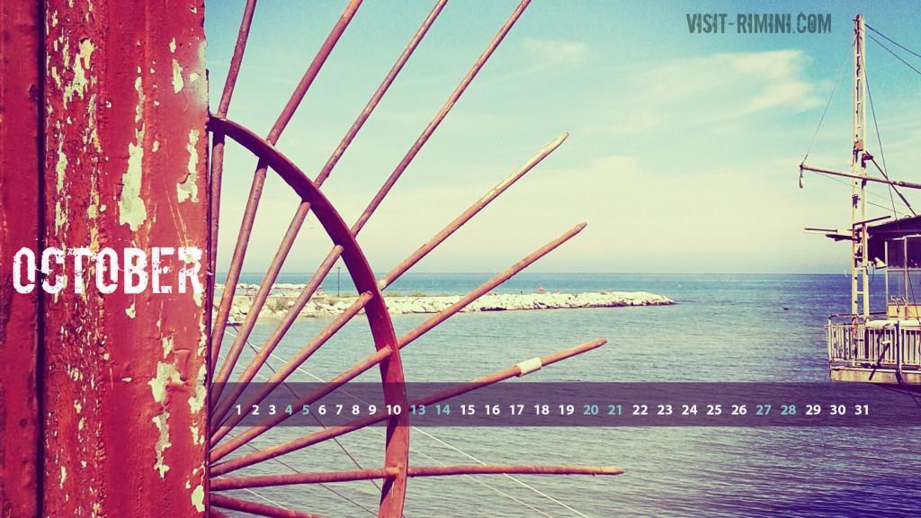 Rimini Seascape - a free desktop calendar for October 2014