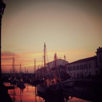 Cesenatico in the winter sunset