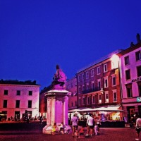 Piazza Cavour lit for the Notte Rosa festival