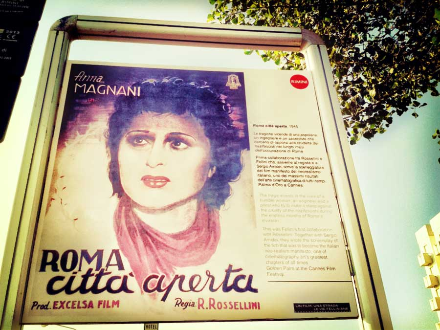Anna Magnani on a street sign in Rimini
