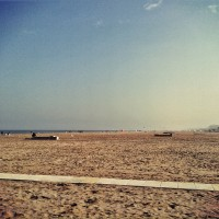 A sunny autumn sunday on rimini beach